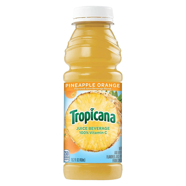 Tropicana Pineapple Orange Juice Drink, 15.2 fl oz Bottles, (Pack of 12)