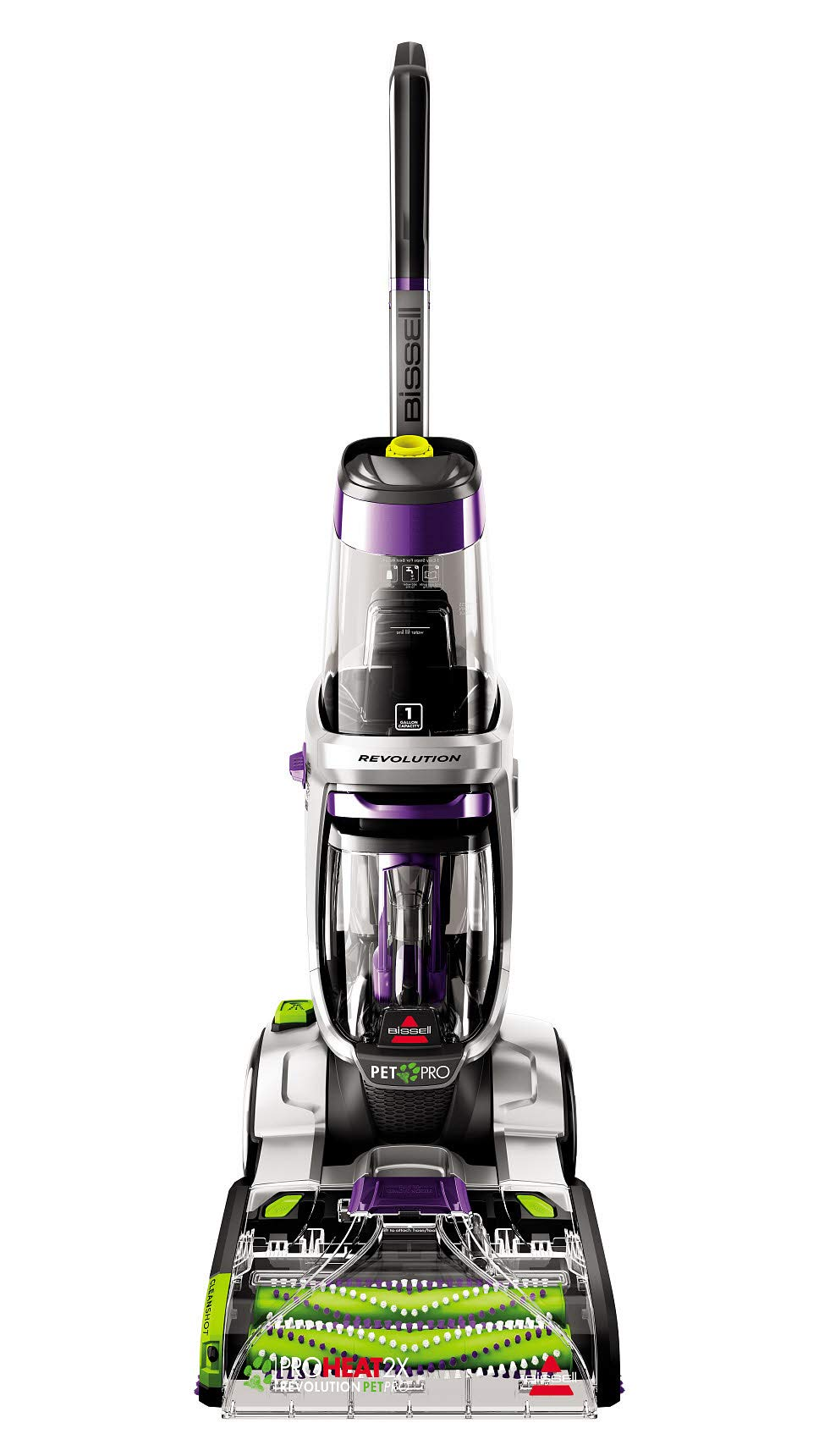 BISSELLProHeat 2X Revolution Max Clean Pet Pro Full-Size Carpet Cleaner, 1986,Sparkle Silver with Grapevine Purple Accents