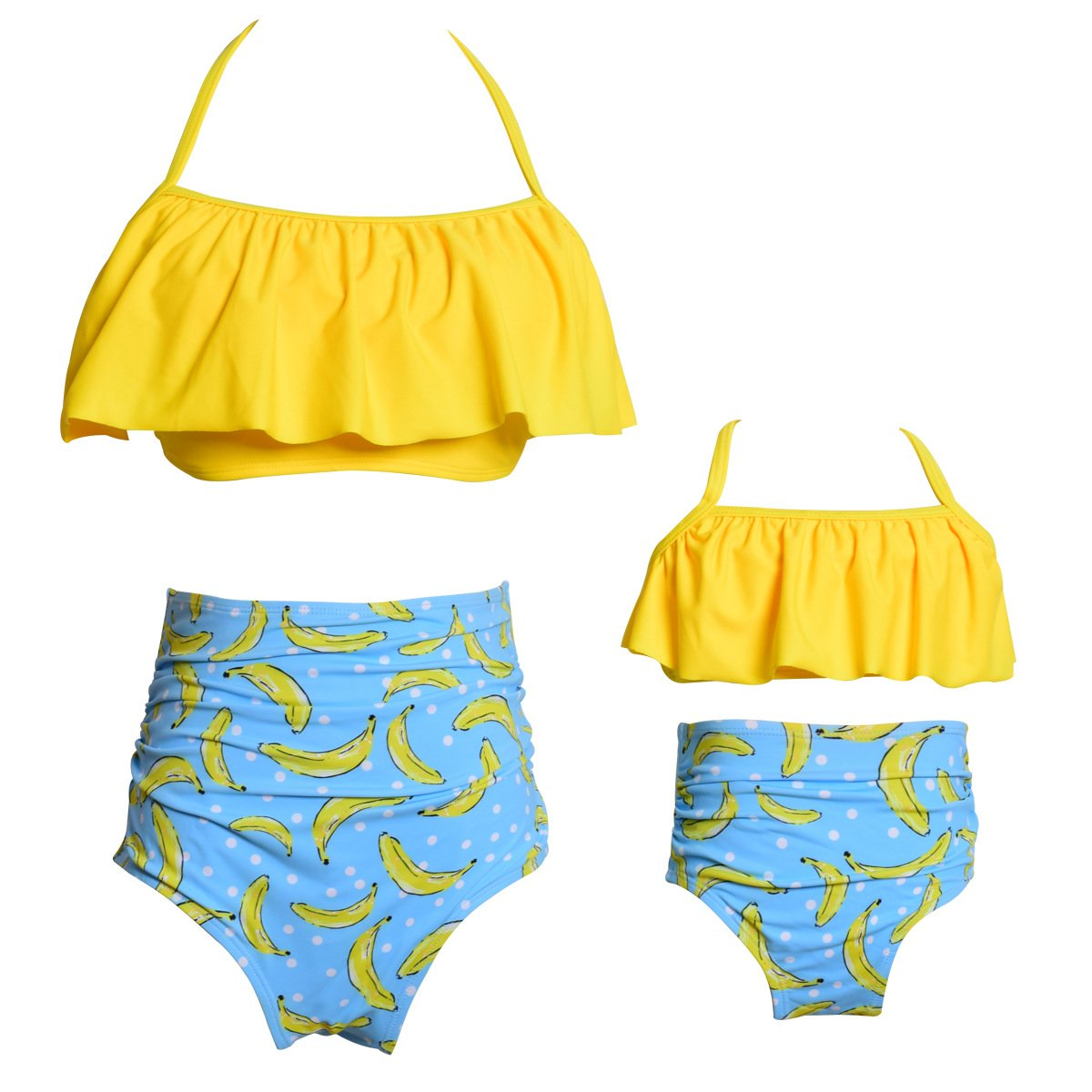 MetCuento Mommy and Me Family Matching Swimsuits Women Swimwear Bikini Set High Waisted Girls Bathing Suit