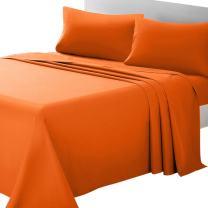 ARTALL Soft Microfiber Bed Sheet Set 4-Piece with Deep Pocket Bedding - King, Orange
