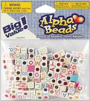 Darice Alphabet Beads, 6mm, White with Multicolor Letters, 160/Pack