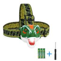 Luwint T-Rex Dinosaur Headlamp Toys - Dino Costume Party Supplies with 3 Modes and Roar Sound Effects, Extra Screwdriver
