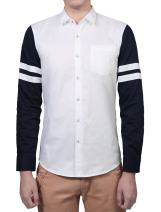 uxcell Men Casual Contrast Striped Long Sleeve Button Down Slim Fit Cotton Shirt