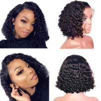 Sailk Hair Lace Front Wigs Human Hair Wigs Natural Curly Pre Plucked With Baby Hair Brazilian Wet Wavy Glueless Wig Remy Hair Bob Wigs For Black Women 12 inch