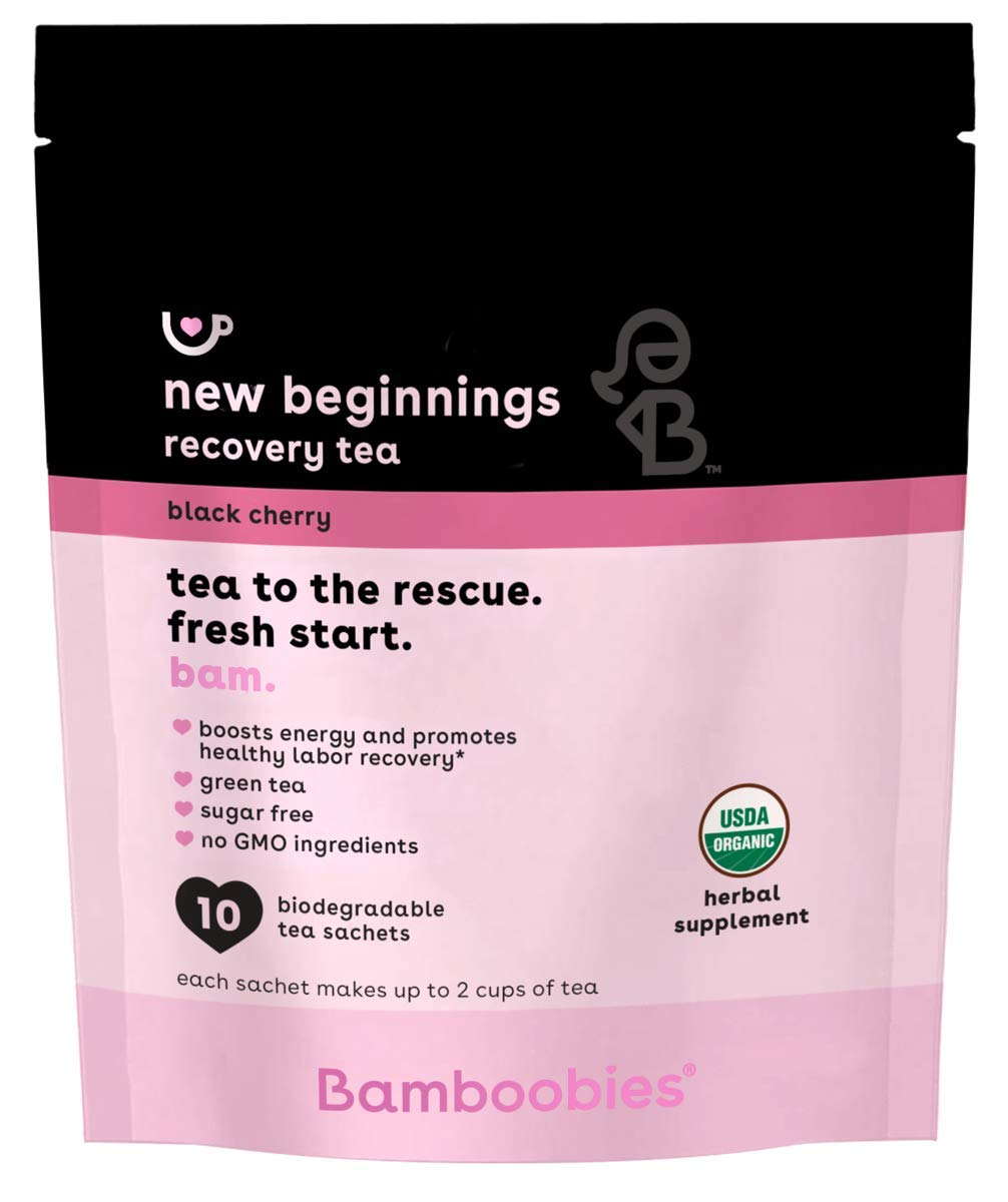 Bamboobies Postpartum Tea | 10 Tea Bags | Black Cherry | Boosts Energy and Promotes Healthy Labor Recovery | Includes Green Tea | Organic, Non GMO, Sugar Free