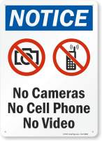 """SmartSign - S-8871-Pl-14 """"Notice - No Cameras, Cell Phone, Video"""" Sign 