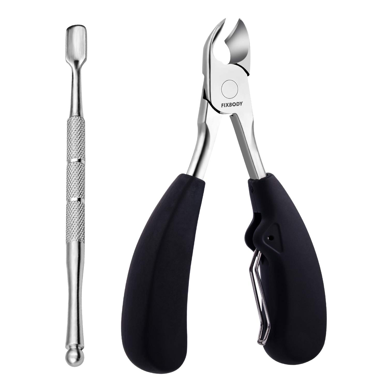 FIXBODY Professional Fingernail & Toenail Clipper 2 PCS Tool for Thick or Ingrown Toenails - Heavy Duty Stainless Steel & Easy Grip