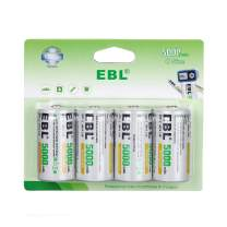 EBL Rechargeable C Batteries, 5000mAh Ni-MH High Capacity C Cell Battery New Retail Package, Pack of 4