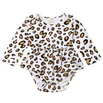 Newborn Infant Baby Girl Leopard Sunflower Floral Romper Jumpsuit Bodysuit with Headband Summer Outfits Clothes