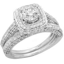 Dazzlingrock Collection 1.85 Carat (ctw) 14K Round Diamond Halo Style Bridal Engagement Ring Set Matching Band, White Gold