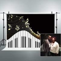 Riyidecor Black and White Piano Keys Backdrop Music Symbols Flying Music Notes 7x5 Feet Modern Art Photography Backgrounds Celebration Decoration Props Birthday Wedding Party Photo Shoot Vinyl Cloth
