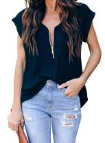 Itsmode Women's Short Sleeve Zip Up V Neck Casual Summer Blouse Shirts Tops for Women