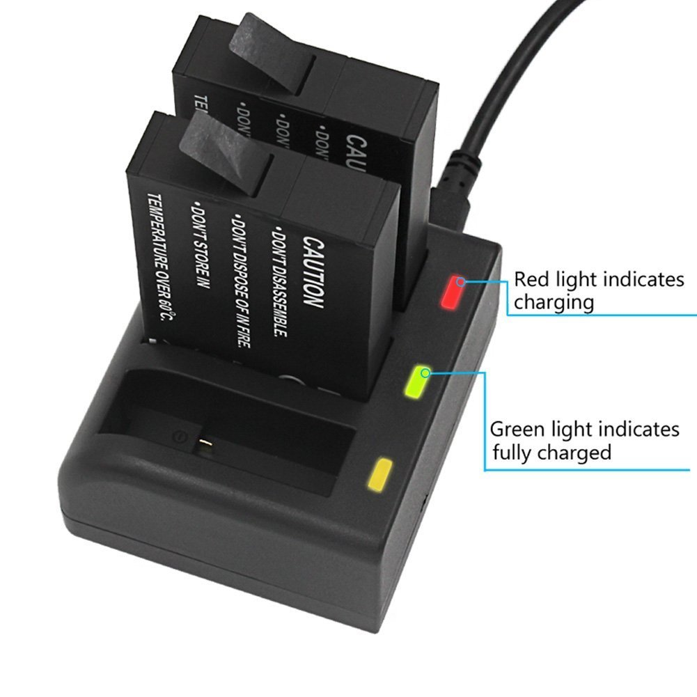 Gonine Battery and Charger for Gopro Fusion Camera, 2 Battery Pack Replacement for ASBBA-001 Battery, with Micro USB & Type-C Inputs.