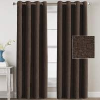 Linen Blackout Curtains 108 Inches Long for Bedroom / Living Room Thermal Insulated Grommet Curtain Drapes Primitive Textured Linen Burlab Effect Window Draperies 2 Panels - Dark Brown