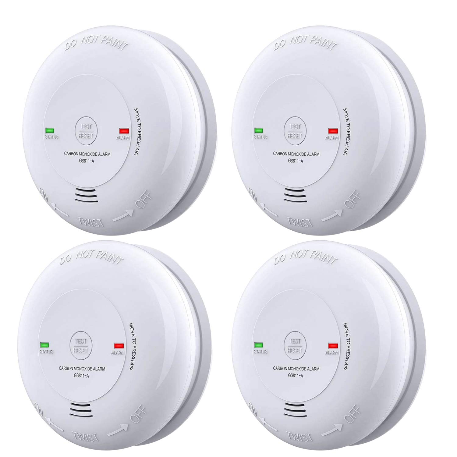 Carbon Monoxide Alarm 4 Packs UL 2034 Listed Carbon Monoxide Detector Battery-Operated CO Alarm(Not Hardwired) Silence Button, Electrochemical Sensor(Battery Included)