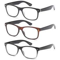 Gamma Ray Reading Glasses - 3 Pairs Spring Hinge Readers for Men and Women 1.25