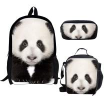 chaqlin China Panda School Shoulder Backpack Adjustable Padded Back Straps Lunch Bag Pencil 3PCS School Set