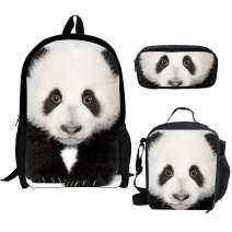 chaqlin China Panda School Shoulder Backpack Adjustable Padded Back Straps Lunch Bag Pencil 3PCS School Set