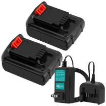 2Packs 20V 2.5Ah Li-ion for Black & Decker Replacement Battery Max Lithium LB20 LBX20 LST220 LBXR2020-OPE LBXR20B-2 LB2X4020, Include One Battery Charger