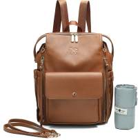 Diaper Bag Backpack by Miss Fong, Dipaer Bag, Backpack Diper Bag With Changing Pad, Large Capacity, In Bag Organizer, Stroller Strap, Insulated Pockets-Love and Peace (Brown)