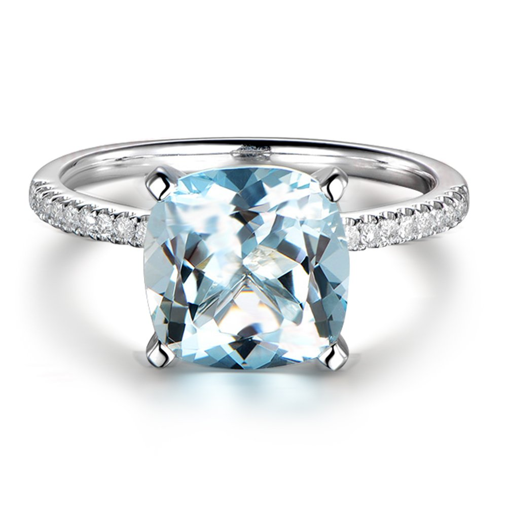 Promise Gemstone natural Aquamarine 14K White Gold Inlay 0.15ct Diamond in South Africa Wedding Engagement Ring For Women
