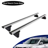 IRONWALLS Universal Roof Racks Top Crossbars Set 52.8'', 2 Pieces Aluminum Alloy Silver Cargo Load Bars, 150LBS/68KG Load Capacity, Features Keyed Locking Mechanism