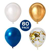 Russ Valley Confetti Balloons, Metallic Gold, Blue & White for Birthday Party - 60 Pack, 12 Inches