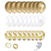 """Funvolution Gold Balloons,DIY Balloon Arch Kit - 12"""" Balloons 52 PCS -White, Gold,Confetti Balloons, with Ribbon and Tape Strips,for Birthday, Wedding, Graduation, Baby Shower Party"""