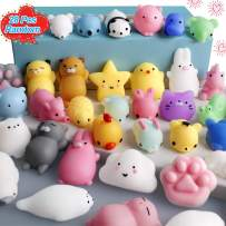 FLY2SKY 28pcs Mochi Squishy Toys Mini Squishies Kawaii Animal Squishys Party Favors Easter Egg Fillers Easter Gifts for kids Unicorn Cat Panda Animal Squeeze Toy Stress Relief Toy Class Prize, Random