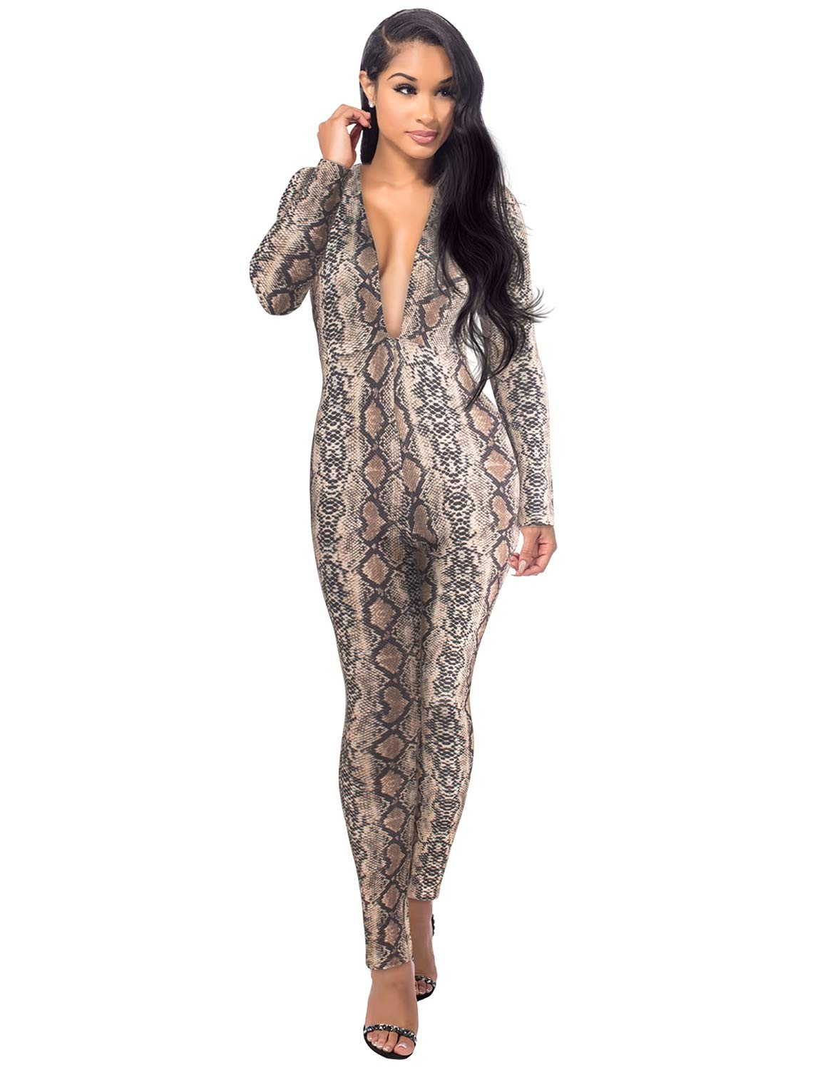 Sedrinuo Women Sexy Snakeskin Long Sleeve Deep V Neck Bodycon Club Jumpsuits