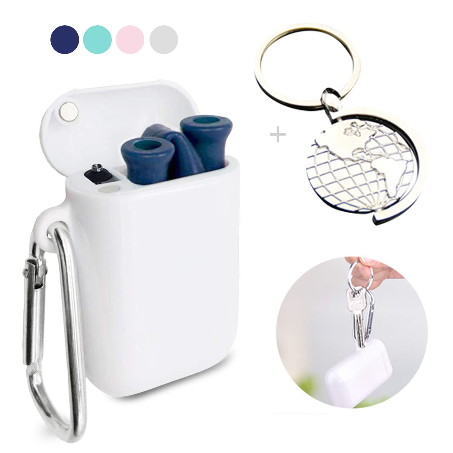 Foldable Reusable Straws with Keychain Collapsible Straw with Case Silicon Straws pba Free for Smoothie/Cocktail - Blue