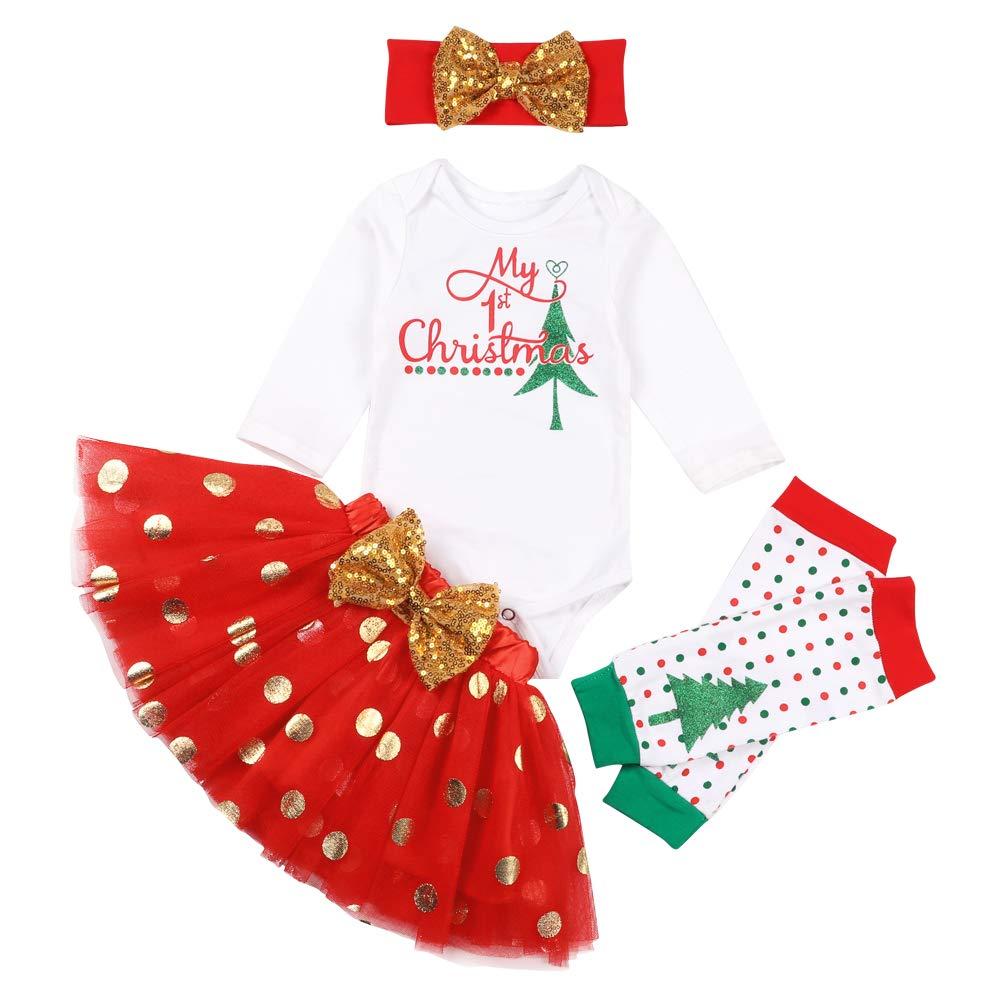 My 1st Christmas Newborn Baby Girl Outfits Long Sleeve Romper + Dot Tutu Skirt + Headband + Leg Warmers 4pcs Clothing Set