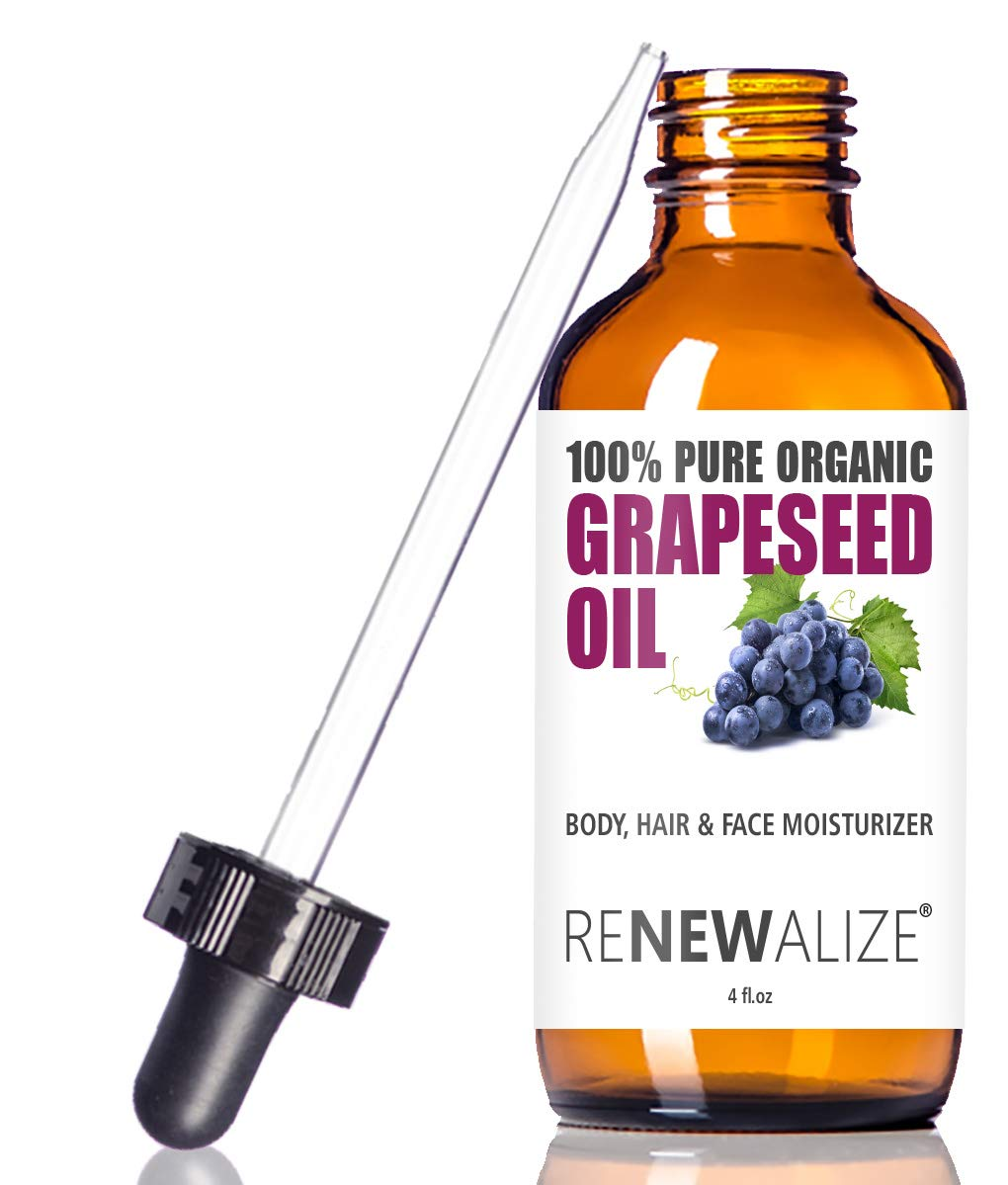 USDA Certified Organic GRAPESEED Oil Anti-Aging Moisturizer - Facial Cleanser in 4 oz Glass Bottle | Unrefined, Cold Pressed Grape Seed Oil | Essential to Reduce Skin Wrinkles and Stretch Marks
