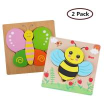 DDMY Wooden Jigsaw Puzzles Set for Kids Age 1 2 3 4 Year Old, [2 Pack] Animals Puzzles for Toddler Children for Color Shapes Cognition Skill Learning Educational Puzzles Toys for Boys and Girls Gifts