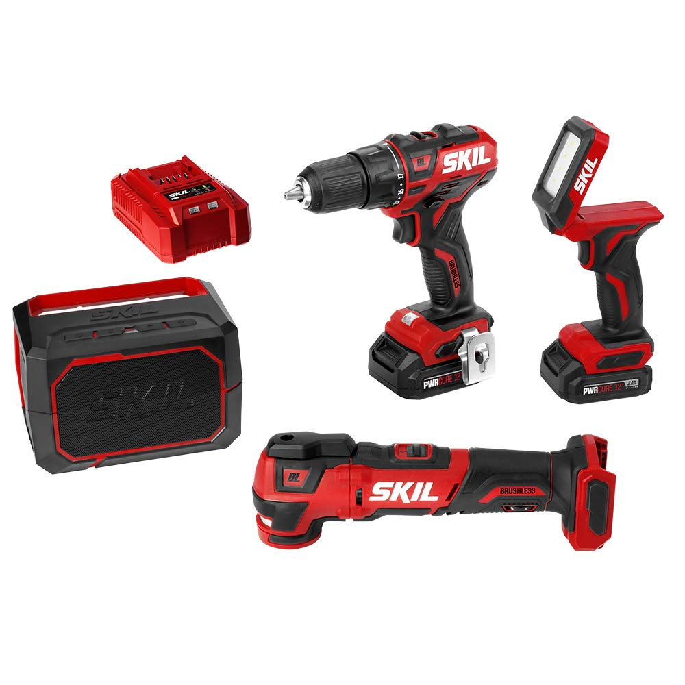 """SKIL 4-Tool Combo Kit: Pwrcore 12 Brushless 12V 1/2"""" Drill Driver, Oscillating Multitool, Area Light & Bluetooth Speaker, Includes Two 2.0Ah Lithium Batteries & Standard Charger - CB738901"""