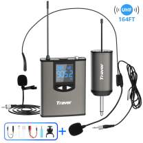 """Travor Wireless Microphone System Headset/Lavalier Lapel Mic 164ft Range with Rechargeable Bodypack Transmitter & Receiver 1/4"""" Output for iPhone, PA Speaker, DSLR Camera, Recording, Teaching"""