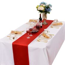 LOVWY Pack of 10 Satin Table Runners 12 x 108 Inches for Wedding Party Engagement Event Birthday Graduation Banquet Decoration (Colors Optional) (Red)