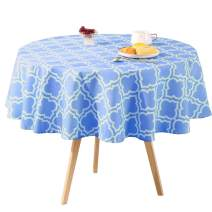 Eternal Beauty Polyester Outdoor Tablecloth Round Spillproof for Spring Summer Patio Picnic BBQ (Blue Plaid , 52inch)