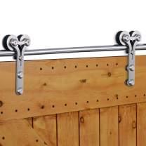 """CCJH 8 FT Stainless Steel Sliding Door Hardware Kit, Wooden and Glass Door Hardware for One Door, Fit 48"""" Wide Door Panel, Y Style"""