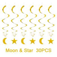 AimtoHome Party Star Moon Swirl Decorations, Gold Ceiling Hanging Swirl Decorations with Star Moon, Whirls Decorations for Birthday | Wedding | Anniversary Party Supplies, Pack of 30