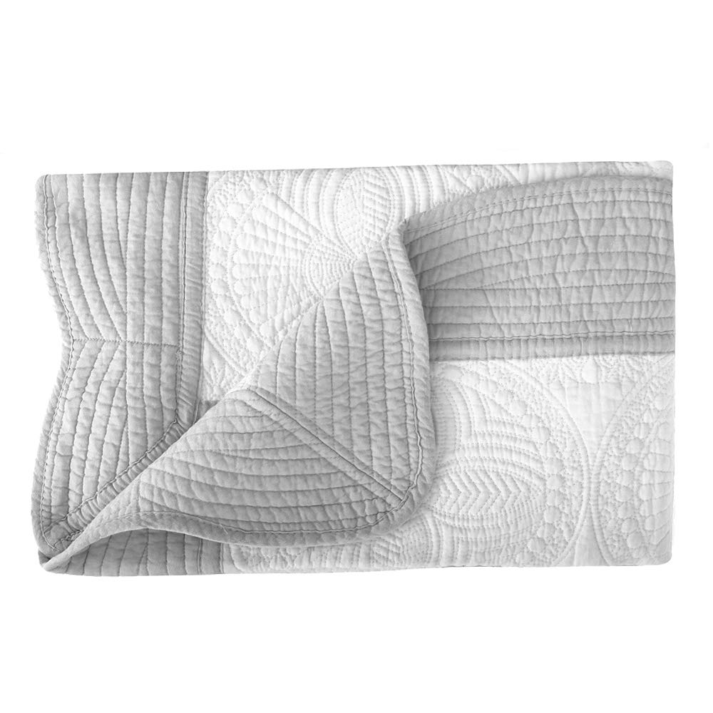 Baby Blanket Lightweight Embossed Cotton Quilt All Weather Blankets for Toddlers and Infants (White-Grey)