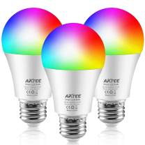 AXTEE Smart Light Bulb 2.4G(Not 5G), WiFi LED RGBCW Color Changing Bulbs 2700K-6500K with White Lights Work with Alexa, Echo, Google Home and IFTTT(No Hub Required), A19 E26 60W Equivalent-3 Pack