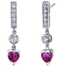 Peora Created Ruby Drop Earrings Sterling Silver 2.00 Carats