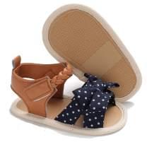 LAFEGEN Infant Baby Girls Summer Sandals with Flower Soft Sole Newborn Toddler First Walker Crib Dress Shoes