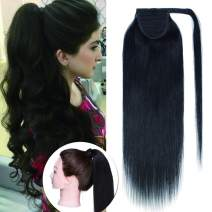 SEGO Ponytail Extension Human Hair Pony Tails Hair Extensions Wrap Around Ponytail Hair Extensions 100% Real Remy Hair With Magic Paste Long Straight For Women #1B Natural Black 14 Inch 70g