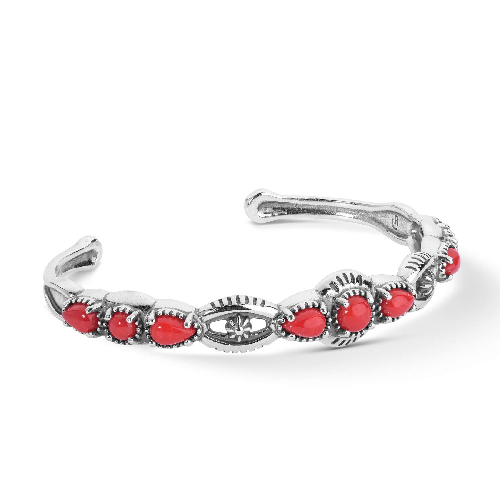 American West Sterling Silver Multi Gemstone Choice of 4 Different Colors Slim Cuff Bracelet Sizes S, M or L