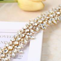 Luxury Bling Crystal Rhinestone Applique Trims 1 Yard for Bridal Belt- Gold(36.61'' x 1.38'')