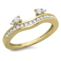 Dazzlingrock Collection 0.40 Carat (ctw) 10K Gold Diamond Ladies Anniversary Wedding Enhancer Guard Band