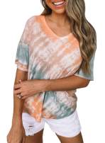 BLENCOT Womens Tie Dye Short Sleeve V Neck Casual Loose Blouses Tee Tops