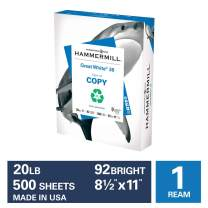 Hammermill Great White 30% Recycled 20lb Copy Paper, 8.5 x 11, 1 Ream, 500 Sheets, Made in USA, Sustainably Sourced From American Family Tree Farms, 92 Bright, Acid Free, Printer Paper, 086710R